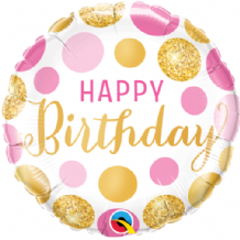"Birthday Pink & Gold Dots Foil Balloon (18"") 1pc"